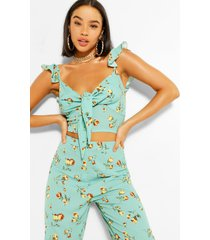 floral tie front top & culottes co-ord, mint
