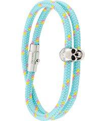 alexander mcqueen skull detail braided bracelet - blue