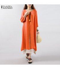6 colores zanzea vestido de lino de algodón vintage para mujer vestidos sueltos largos de manga 3/4 sueltos vestidos de talla grande s-5xl vestidos (naranja rojo) -naranja