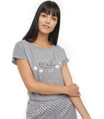 camiseta descanso mujer owi color gris, talla m