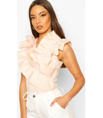 ruffle front feature top, nude