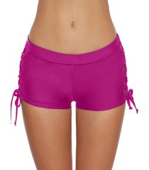 lace-up side plain swim shorts