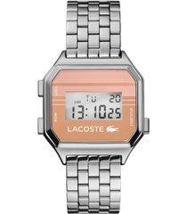 lacoste men's digital berlin stainless steel bracelet watch 34mm