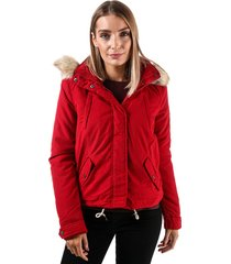 vero moda womens limit brushed short parka jacket size 14 in red
