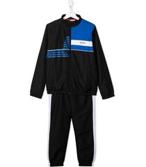 boss kidswear block colour tracksuit set - black