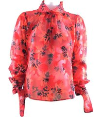 blouse zwarten vrouw met fantasie bloemen