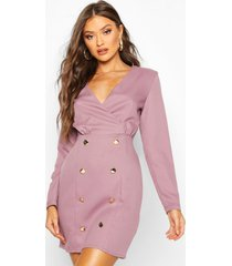 collarless blazer dress with button detail, mauve
