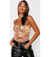 ruched front gathered satin cami top, taupe