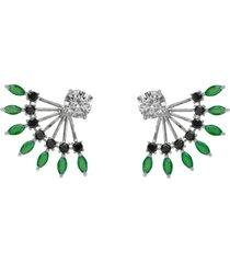 brinco ear jacket the ring boutique cristais verde esmeralda zb ródio ouro branco - kanui