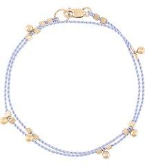 petite grand wrap cord ball drop bracelet - blue