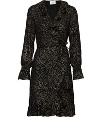 goldy wrap dress knälång klänning svart just female