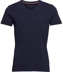 core stretch slim vneck tee t-shirts short-sleeved blå tommy hilfiger