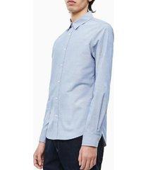 camisa slim chambray azul calvin klein