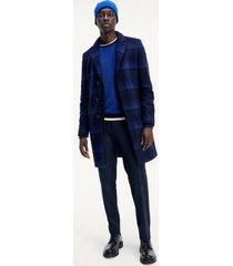 tommy hilfiger men's check wool overcoat blue - 46