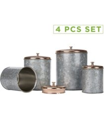 mind reader 4 piece double wall galvanized canister set with lid