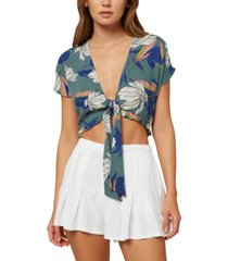 o'neill juniors' oriana floral tie-front top