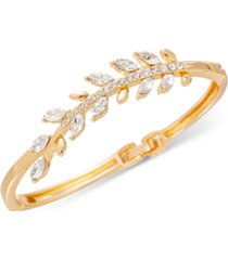 charter club gold-tone pave leaf hinge bracelet, created for macy's