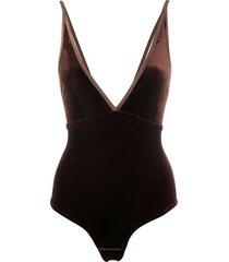 simone wild velvet bodysuit - brown