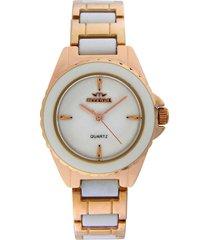 reloj dorado montreal white