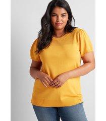 lane bryant women's puffed-sleeve sweater tee 22/24 sunflower