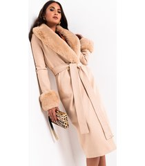 akira came to slay fur detail belted coat