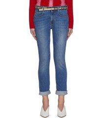 logo belt skinny boyfriend jeans