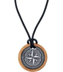 """he rocks two-piece compass 24"""" pendant necklace in stainless steel"""