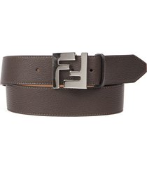 fendi brown leather belt with ff metal buckle