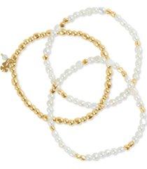 lucky brand gold-tone 3-pc. set imitation pearl & bead bracelets
