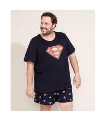 pijama masculino super homem manga curta azul marinho