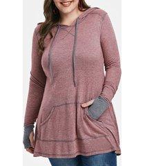 plus size stitching pockets hoodie