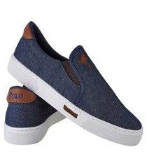tênis sapatenis sapato casual iate sem cadarço polo joy azul claro