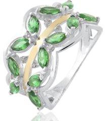anel de prata c/ filete de ouro central e zircônia verde multicolorido