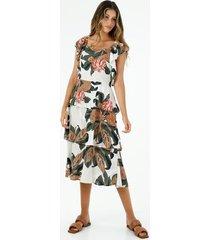 vestido midi de mujer con maxi boleros y estampado de hojas y flores