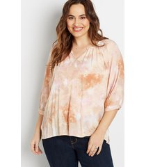 maurices plus size womens tie dye 3/4 sleeve peasant top