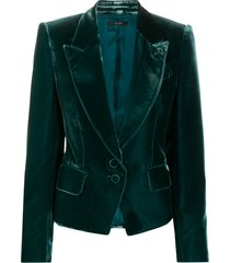 tom ford tailored single-breasted velvet blazer - fg600 peacock