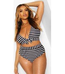 plus gestreepte bikini met strik en hoge taille, zwart