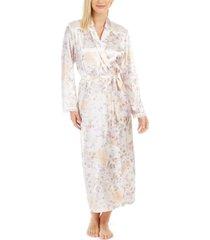 linea donatella women's satin floral-print robe