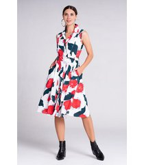 vestido corto estampado multicolor sin mangas