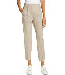 women's reiss jay metallic satin side stripe trousers, size 4 us - beige