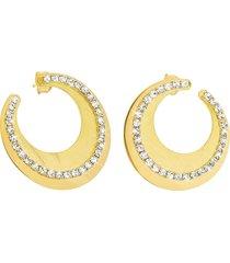 orecchini in bronzo lucido/satinato dorato e cristalli per donna