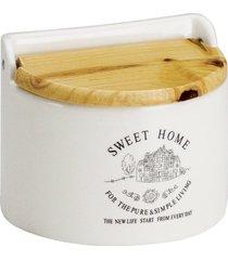 saleiro de cerâmica p/parede c/tampa madeira sweet home 620ml