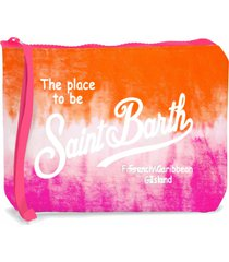 orange and fucsia tie dye scuba pochette