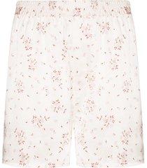 frankies bikinis floral print pajama shorts - pink