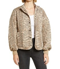 women's blanknyc tiger print quilted jacket, size large - beige