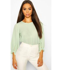 bow sleeve woven blouse, sage