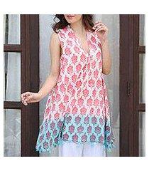 cotton shift dress, 'strawberry buds' (india)