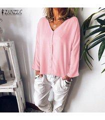 zanzea para mujer de manga larga con cuello en v tapas flojas camisas botón frontal de la blusa del tamaño extra grande -rosado