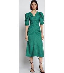 proenza schouler linen viscose shirred sleeve dress brightgreen 2