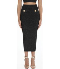 balmain knit and lurex skirt
